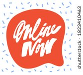 online now. red speech bubble... | Shutterstock .eps vector #1823410463