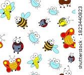 cute cartoon seamless pattern... | Shutterstock .eps vector #1823440823