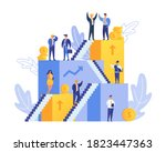 career and people on stairs go... | Shutterstock .eps vector #1823447363