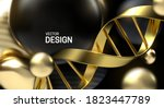 golden dna strand with black... | Shutterstock .eps vector #1823447789