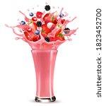 pink berry juice splash. whole... | Shutterstock .eps vector #1823452700