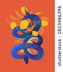 serpent. snake hand drawn... | Shutterstock .eps vector #1823486396
