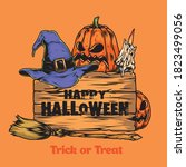 trick or treat vintage template ... | Shutterstock .eps vector #1823499056