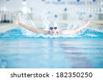 young woman in goggles and cap... | Shutterstock . vector #182350250