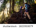 Girl Outdoor Hiking On A  Trail ...