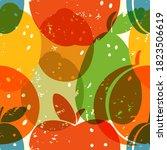 grunge fruit pattern in retro... | Shutterstock .eps vector #1823506619