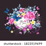 beautiful floral frame with... | Shutterstock .eps vector #1823519699