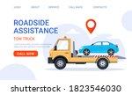 car tow truck accident roadside ... | Shutterstock .eps vector #1823546030