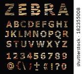zebra alphabet. hand drawn... | Shutterstock .eps vector #182355008
