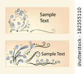 lace banners with blue flowers... | Shutterstock .eps vector #182355110