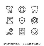 health insurance line icons set.... | Shutterstock .eps vector #1823559350