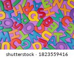 chaotically scattered colored...   Shutterstock . vector #1823559416