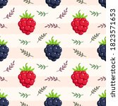 raspberry seamless pattern with ... | Shutterstock .eps vector #1823571653