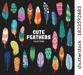 fun and colorful feathers... | Shutterstock .eps vector #1823592683