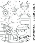 christmas coloring page with... | Shutterstock .eps vector #1823594876
