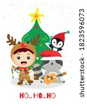 christmas greeting card with... | Shutterstock .eps vector #1823596073