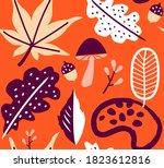 seamless autumn leaves orange... | Shutterstock .eps vector #1823612816