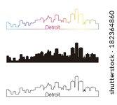 detroit skyline linear style... | Shutterstock .eps vector #182364860