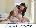happy mother looking at... | Shutterstock . vector #182365748