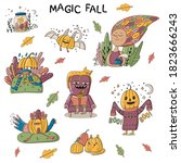 magic fall set with cute...   Shutterstock .eps vector #1823666243