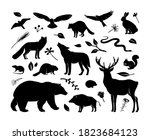 Vector Silhouettes Animals Set...