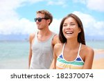 happy couple on beach having... | Shutterstock . vector #182370074