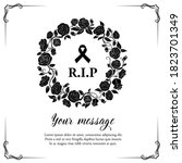 funeral vector card with rose... | Shutterstock .eps vector #1823701349
