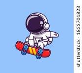 cute astronaut playing... | Shutterstock .eps vector #1823701823
