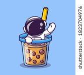 cute astronaut in boba milk tea ... | Shutterstock .eps vector #1823704976