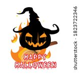 halloween banner or card with... | Shutterstock . vector #1823722346