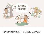 cute cartoon bulls collection.... | Shutterstock .eps vector #1823723930