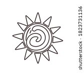 mexican sun free form line... | Shutterstock .eps vector #1823731136