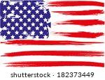 grunge brush  of american flag | Shutterstock .eps vector #182373449
