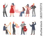 musician characters playing...   Shutterstock .eps vector #1823735573