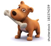 3d Render Of A Dog With A Bone