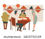 man and woman on date eating...   Shutterstock .eps vector #1823752139