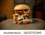Small photo of Huge chicken zinger burger tower