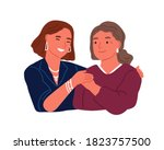 happy adult daughter hugging... | Shutterstock .eps vector #1823757500
