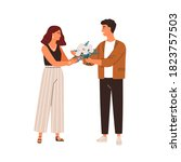 man giving bouquet of rose... | Shutterstock .eps vector #1823757503