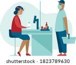 supermarket store counter...   Shutterstock .eps vector #1823789630