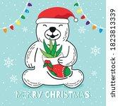 polar bear wear santa hat and... | Shutterstock .eps vector #1823813339