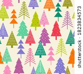 colorful pine trees seamless... | Shutterstock .eps vector #1823834573