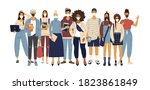 a crowd of standing people in... | Shutterstock .eps vector #1823861849