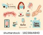 coronavirus covid 19 lettering...   Shutterstock .eps vector #1823864840