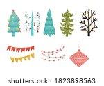 set of christmas decorations....   Shutterstock . vector #1823898563