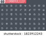 e commerce thin line icon set....