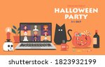 online halloween party concept... | Shutterstock .eps vector #1823932199