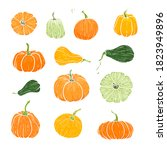set of decorative orange and... | Shutterstock .eps vector #1823949896