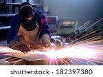 worker inside factory cut metal ... | Shutterstock . vector #182397380