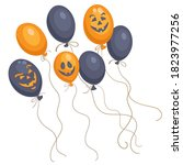happy halloween. seven orange... | Shutterstock .eps vector #1823977256